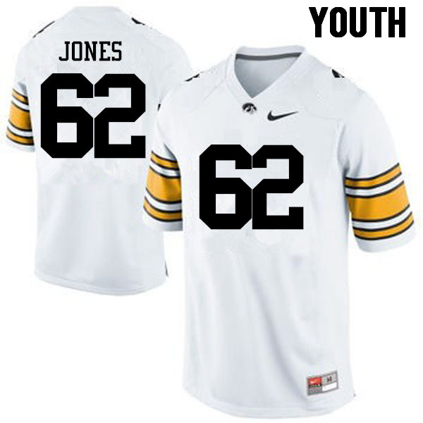 Youth Iowa Hawkeyes #62 Cal Jones College Football Jerseys-White