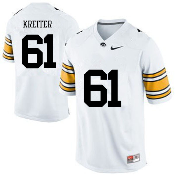 Men Iowa Hawkeyes #61 Casey Kreiter College Football Jerseys-White
