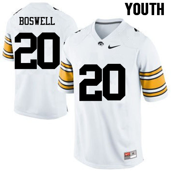 Youth Iowa Hawkeyes #20 Cedric Boswell College Football Jerseys-White