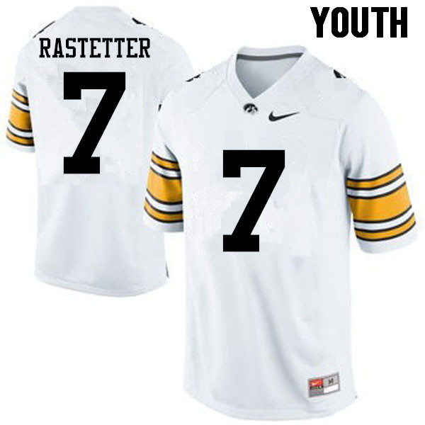 Youth Iowa Hawkeyes #7 Colten Rastetter College Football Jerseys-White
