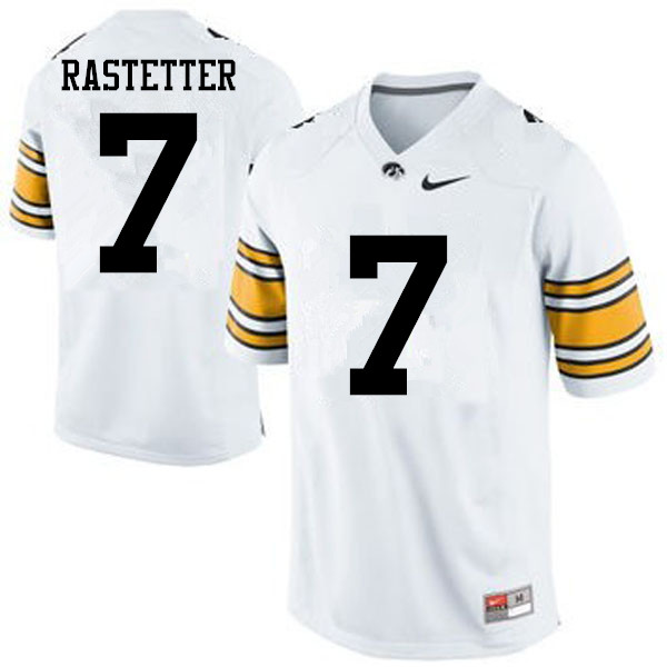 Men Iowa Hawkeyes #7 Colten Rastetter College Football Jerseys-White