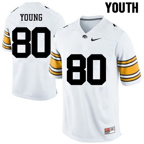 Youth Iowa Hawkeyes #80 Devonte Young College Football Jerseys-White