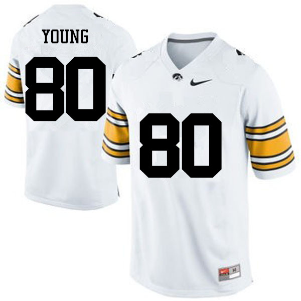 Men Iowa Hawkeyes #80 Devonte Young College Football Jerseys-White