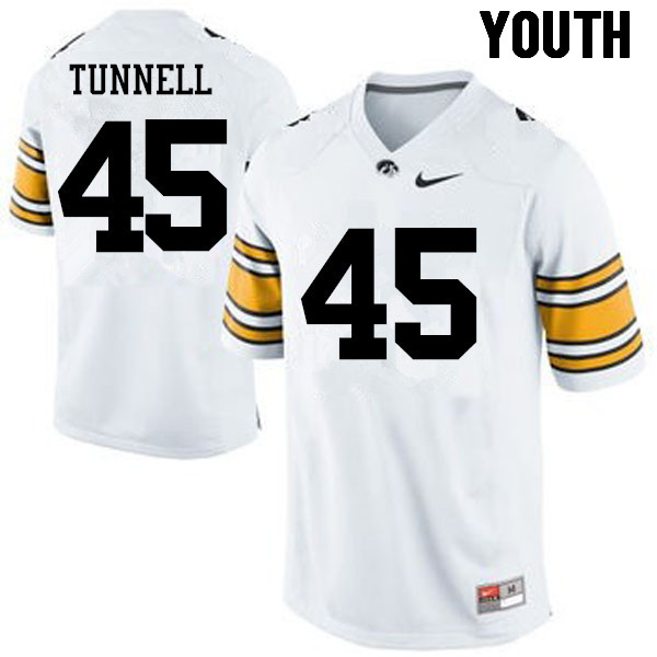 Youth Iowa Hawkeyes #45 Emlen Tunnell College Football Jerseys-White
