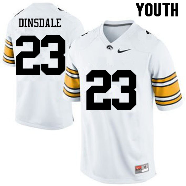 Youth Iowa Hawkeyes #23 Gavin Dinsdale College Football Jerseys-White