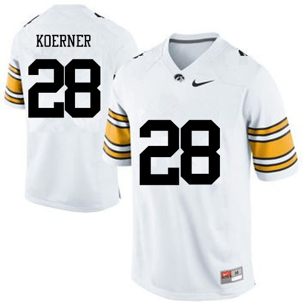 Men Iowa Hawkeyes #28 Jack Koerner College Football Jerseys-White