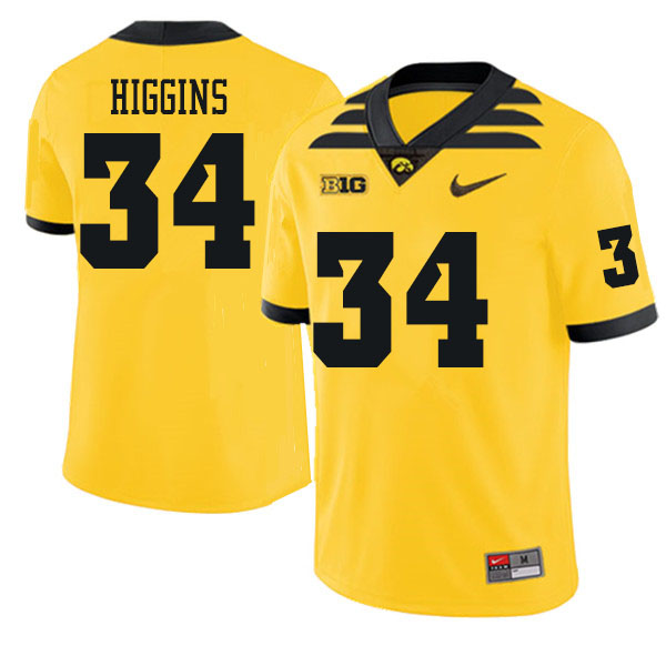 Men #34 Jay Higgins Iowa Hawkeyes College Football Jerseys Sale-Gold