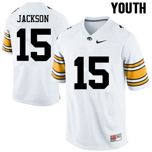Youth Iowa Hawkeyes #15 Joshua Jackson College Football Jerseys-White
