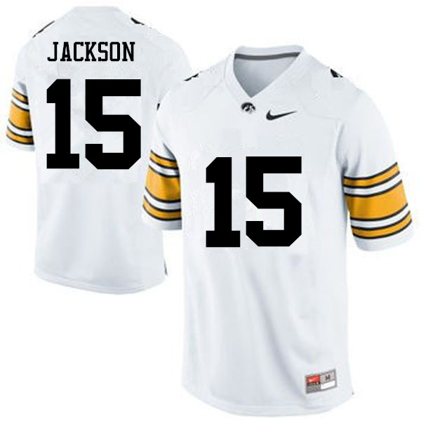 Men Iowa Hawkeyes #15 Joshua Jackson College Football Jerseys-White
