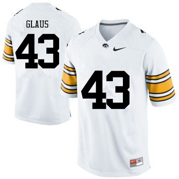 Men Iowa Hawkeyes #43 Keegan Glaus College Football Jerseys-White