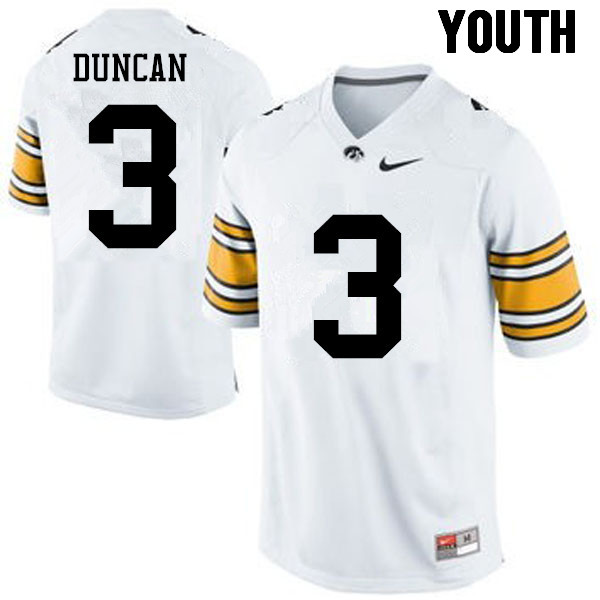 Youth Iowa Hawkeyes #3 Keith Duncan College Football Jerseys-White