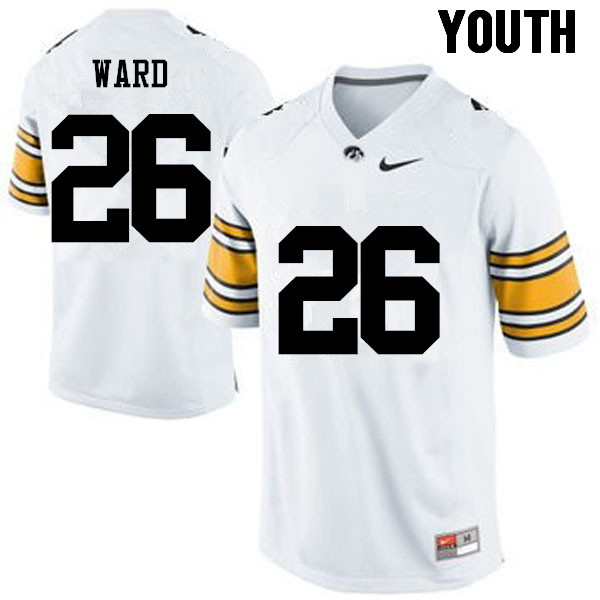 Youth Iowa Hawkeyes #26 Kevin Ward College Football Jerseys-White
