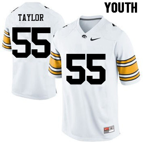 Youth Iowa Hawkeyes #55 Kyle Taylor College Football Jerseys-White