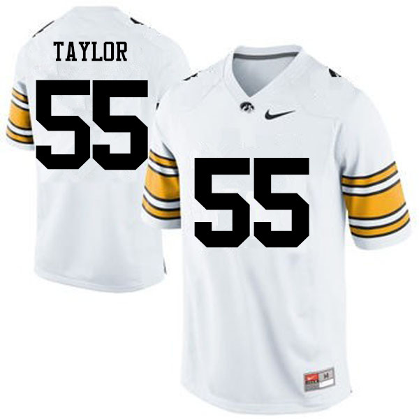 Men Iowa Hawkeyes #55 Kyle Taylor College Football Jerseys-White