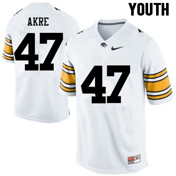 Youth Iowa Hawkeyes #47 Lane Akre College Football Jerseys-White