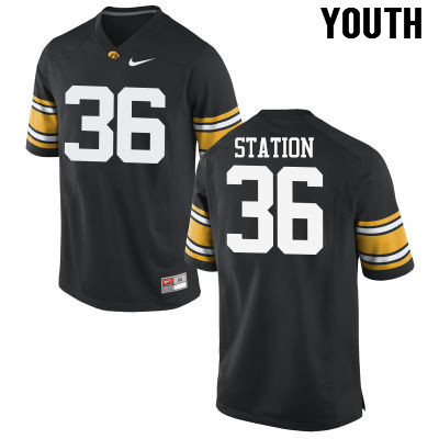 Youth Iowa Hawkeyes #36 Larry Station College Football Jerseys-Black