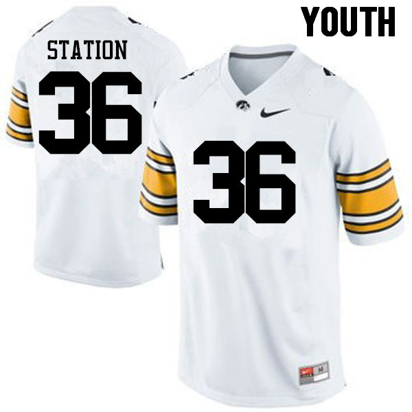 Youth Iowa Hawkeyes #36 Larry Station College Football Jerseys-White