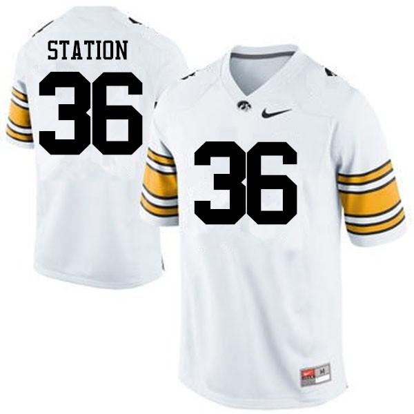 Men Iowa Hawkeyes #36 Larry Station College Football Jerseys-White