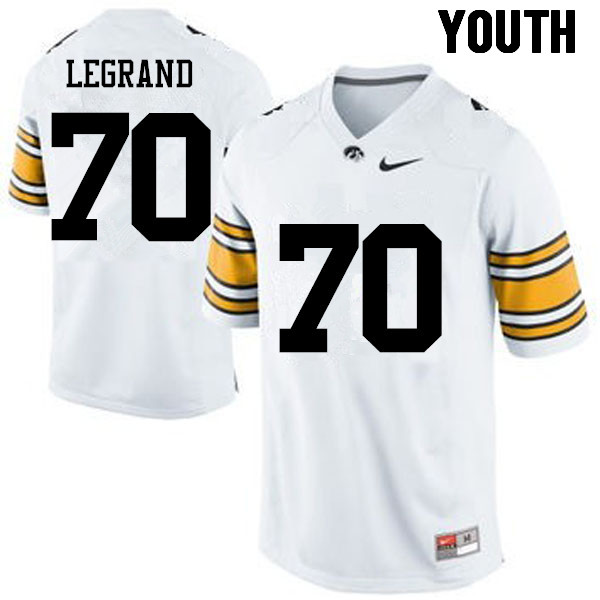 Youth Iowa Hawkeyes #70 Lucas LeGrand College Football Jerseys-White
