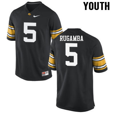 Youth Iowa Hawkeyes #5 Manny Rugamba College Football Jerseys-Black
