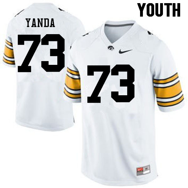 Youth Iowa Hawkeyes #73 Marshal Yanda College Football Jerseys-White