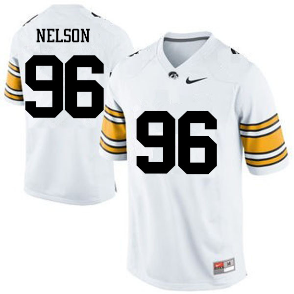Men Iowa Hawkeyes #96 Matt Nelson College Football Jerseys-White