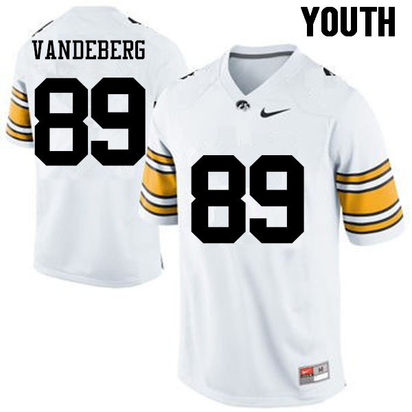 Youth Iowa Hawkeyes #89 Matt VandeBerg College Football Jerseys-White