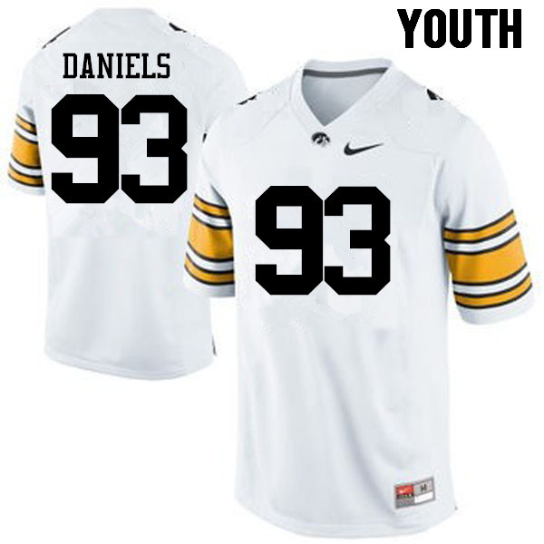 Youth Iowa Hawkeyes #93 Mike Daniels College Football Jerseys-White