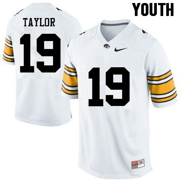 Youth Iowa Hawkeyes #19 Miles Taylor College Football Jerseys-White