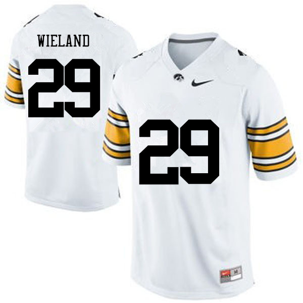 Men Iowa Hawkeyes #29 Nate Wieland College Football Jerseys-White