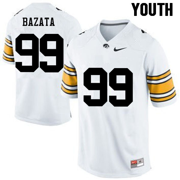Youth Iowa Hawkeyes #99 Nathan Bazata College Football Jerseys-White