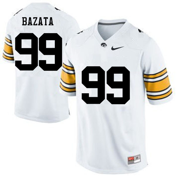 Men Iowa Hawkeyes #99 Nathan Bazata College Football Jerseys-White