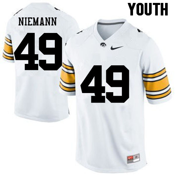 Youth Iowa Hawkeyes #49 Nick Niemann College Football Jerseys-White
