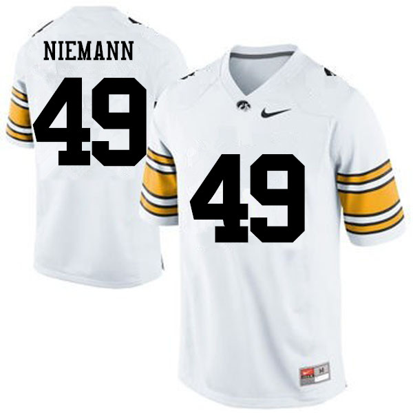 Men Iowa Hawkeyes #49 Nick Niemann College Football Jerseys-White