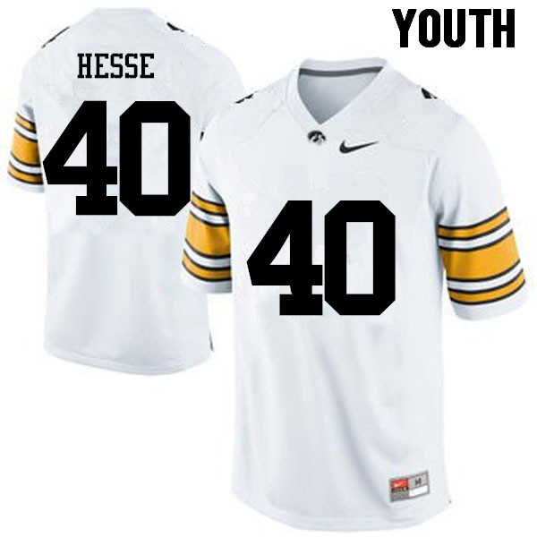 Youth Iowa Hawkeyes #40 Parker Hesse College Football Jerseys-White