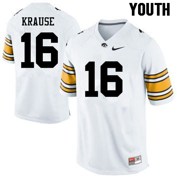Youth Iowa Hawkeyes #16 Paul Krause College Football Jerseys-White