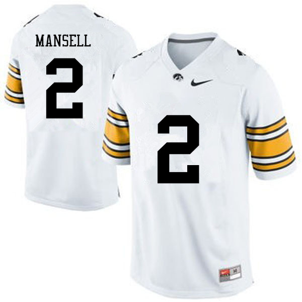 Men Iowa Hawkeyes #2 Peyton Mansell College Football Jerseys-White