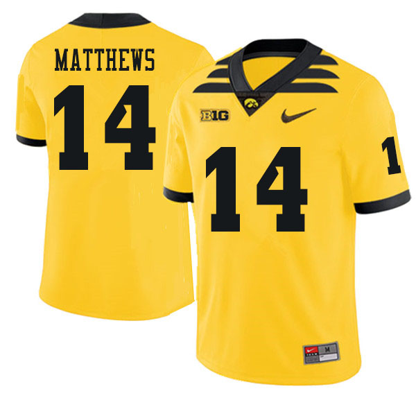 Men #14 Quavon Matthews Iowa Hawkeyes College Football Jerseys Sale-Gold