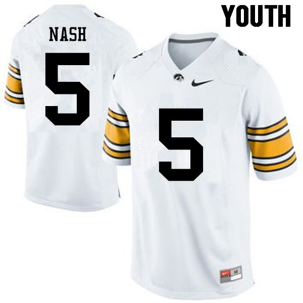 Youth Iowa Hawkeyes #5 Ronald Nash College Football Jerseys-White