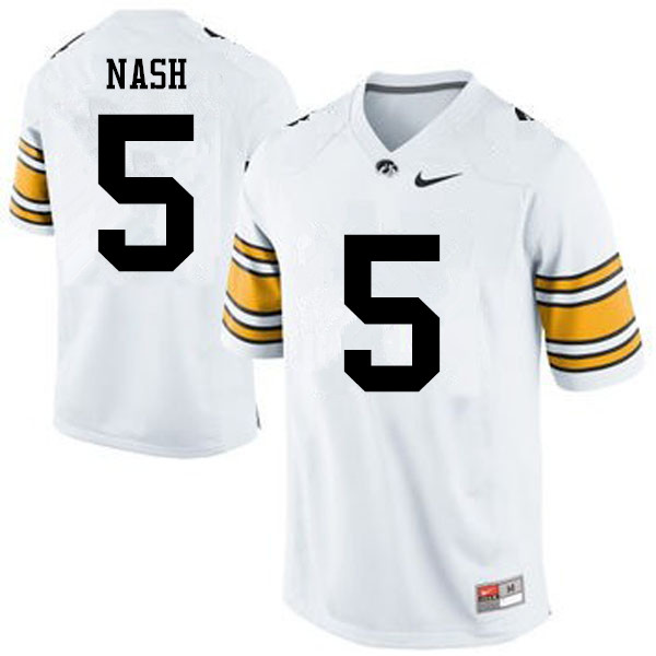 Men Iowa Hawkeyes #5 Ronald Nash College Football Jerseys-White