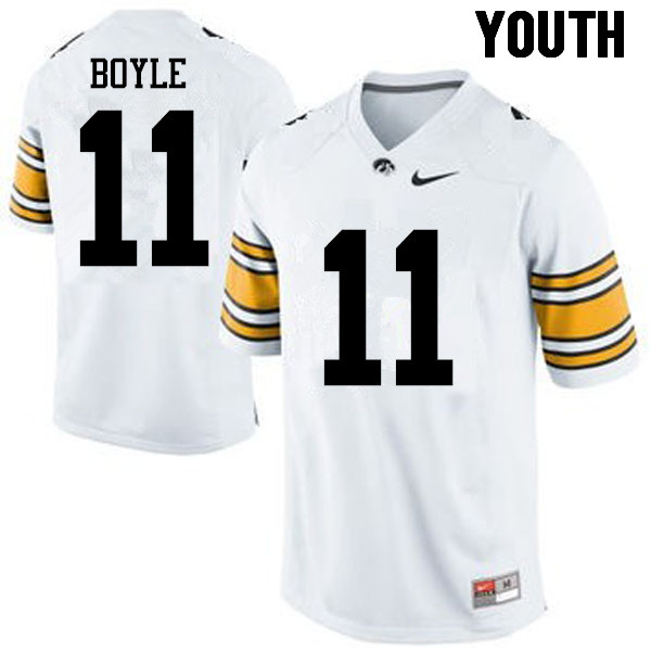 Youth Iowa Hawkeyes #11 Ryan Boyle College Football Jerseys-White