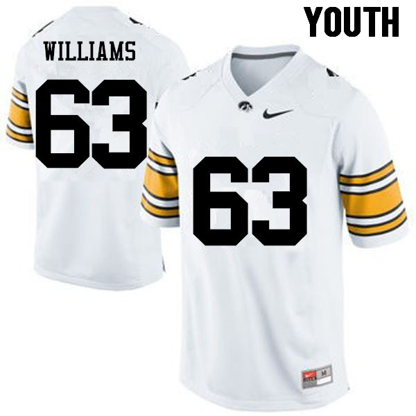 Youth Iowa Hawkeyes #63 Spencer Williams College Football Jerseys-White