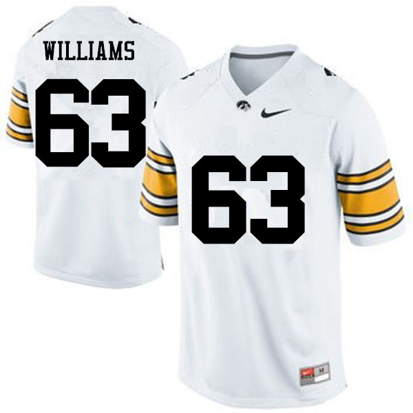 Men Iowa Hawkeyes #63 Spencer Williams College Football Jerseys-White