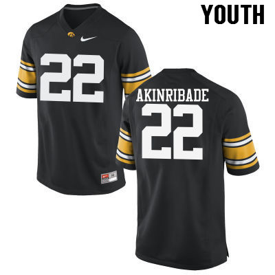 Youth Iowa Hawkeyes #22 Toks Akinribade College Football Jerseys-Black