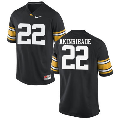 Men Iowa Hawkeyes #22 Toks Akinribade College Football Jerseys-Black