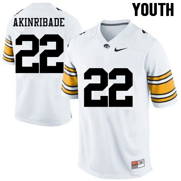 Youth Iowa Hawkeyes #22 Toks Akinribade College Football Jerseys-White