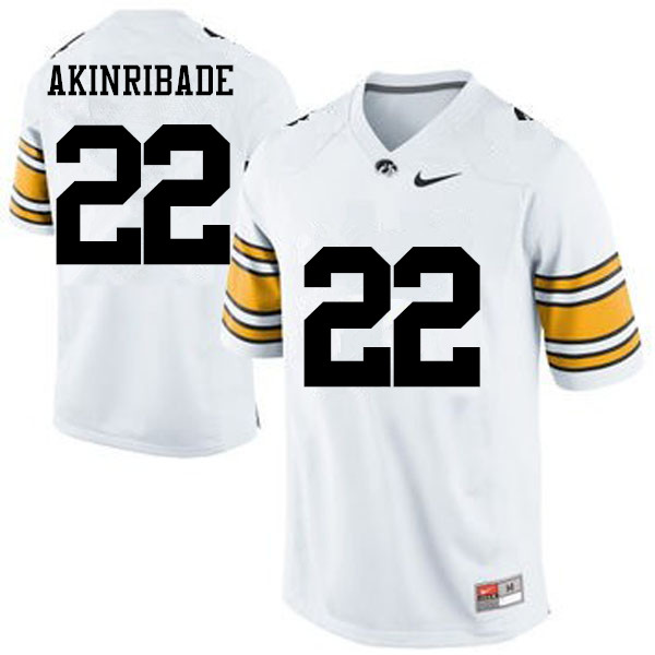 Men Iowa Hawkeyes #22 Toks Akinribade College Football Jerseys-White
