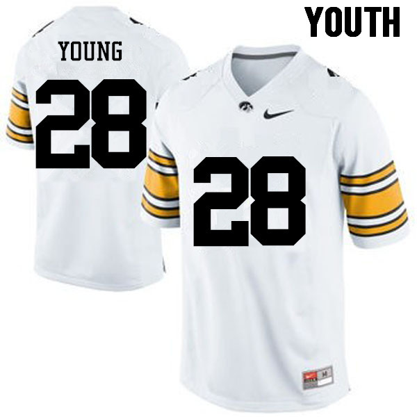 Youth Iowa Hawkeyes #28 Toren Young College Football Jerseys-White