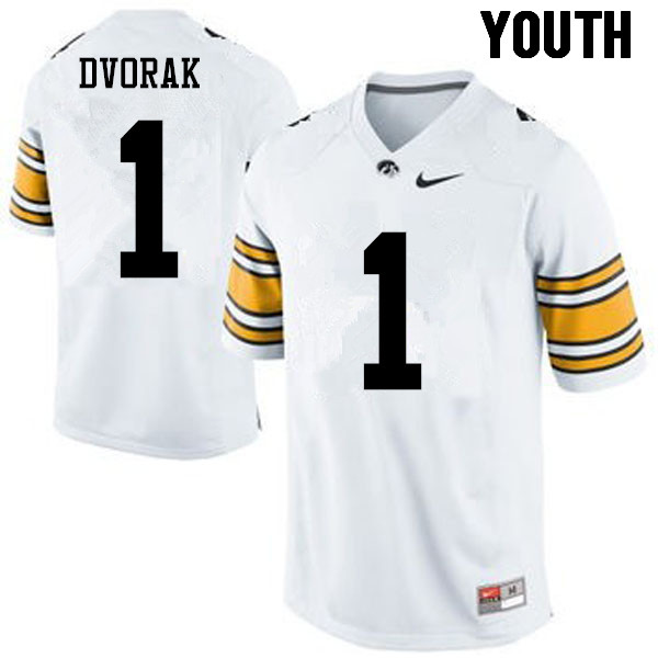 Youth Iowa Hawkeyes #1 Wes Dvorak College Football Jerseys-White