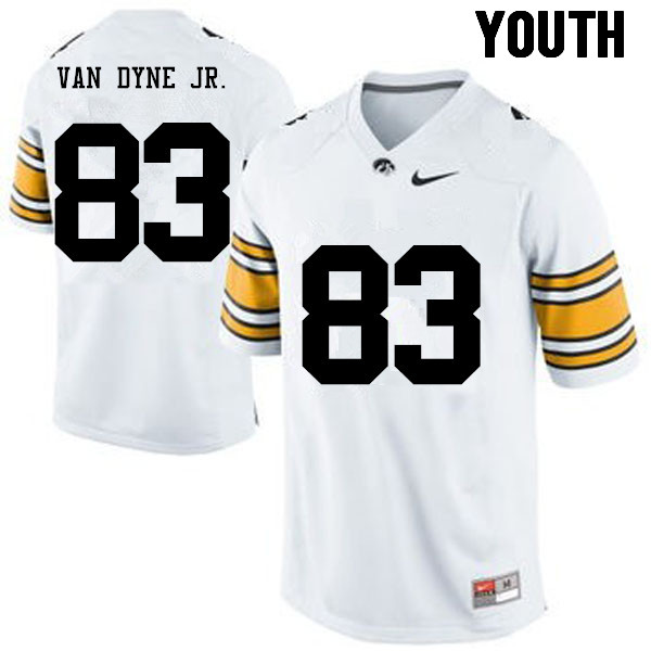 Youth Iowa Hawkeyes #83 Yale Van Dyne Jr. College Football Jerseys-White